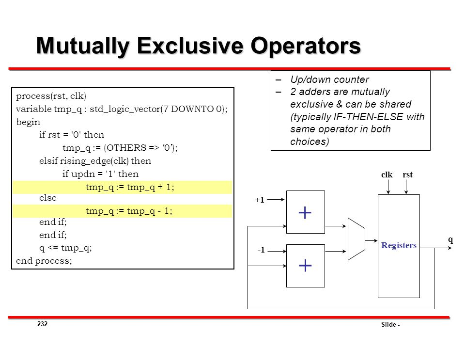 Mutually Exclusive Operators