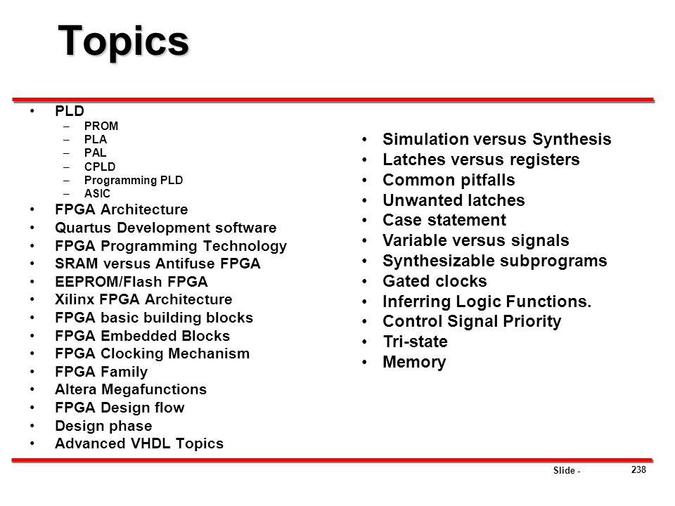 Topics Simulation versus Synthesis Latches versus registers