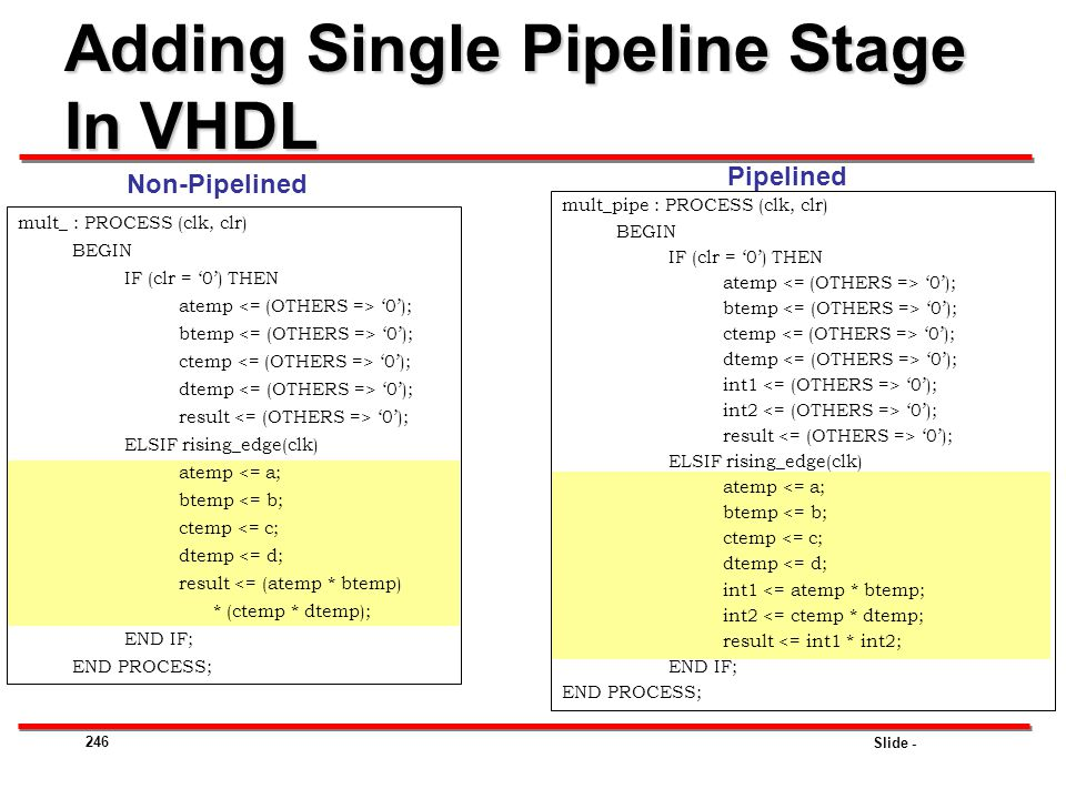 Adding Single Pipeline Stage In VHDL