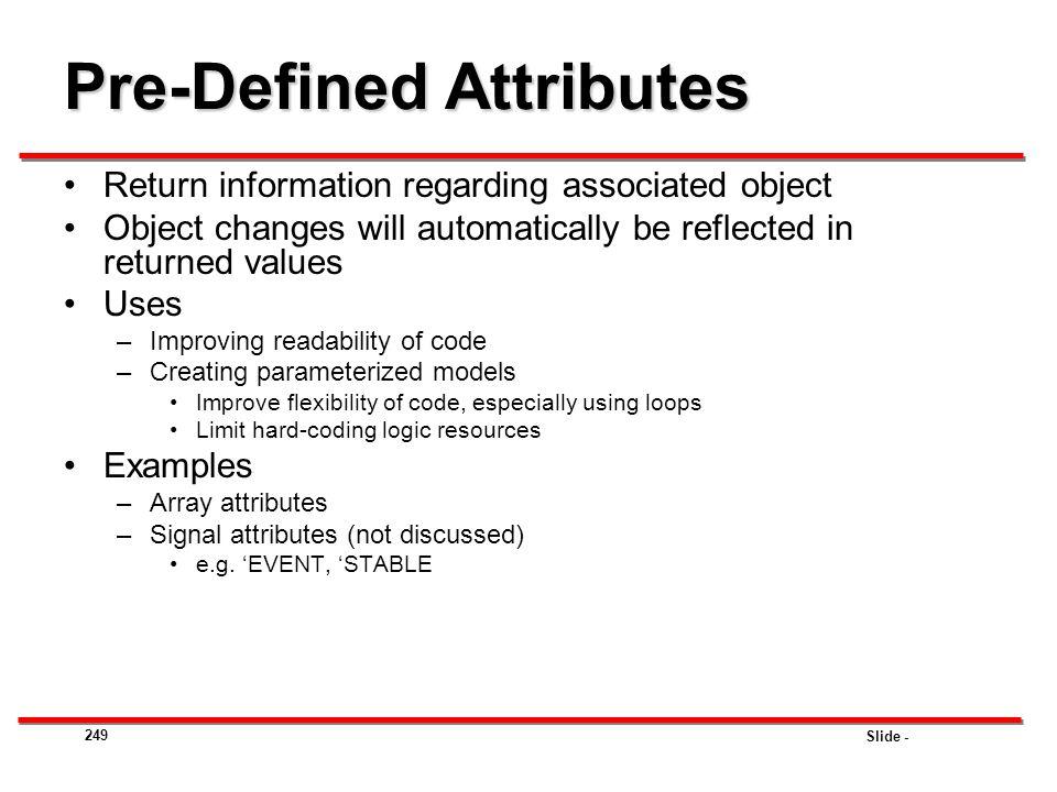 Pre-Defined Attributes