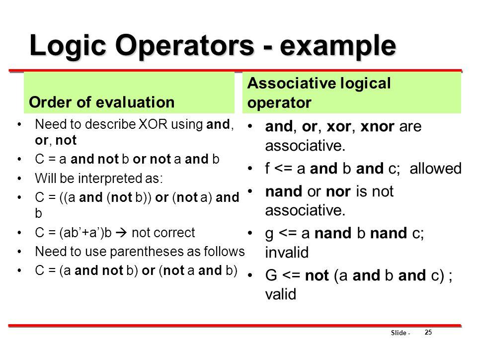 Logic Operators - example