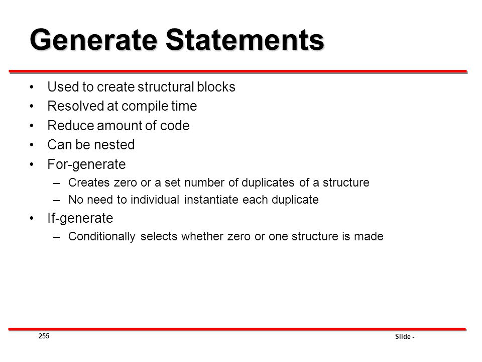 Generate Statements Used to create structural blocks