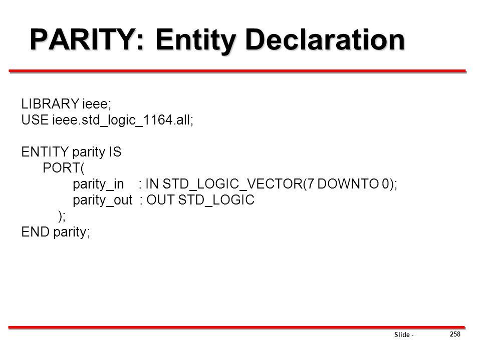 PARITY: Entity Declaration