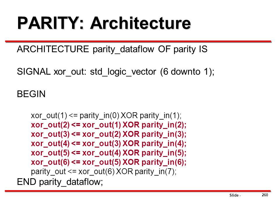 PARITY: Architecture ARCHITECTURE parity_dataflow OF parity IS