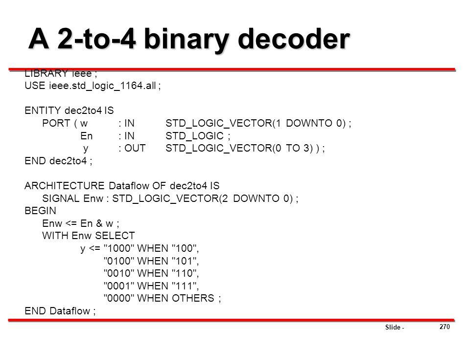 A 2-to-4 binary decoder LIBRARY ieee ; USE ieee.std_logic_1164.all ;