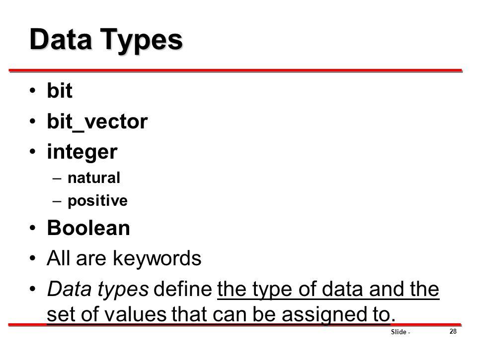 Data Types bit bit_vector integer Boolean All are keywords