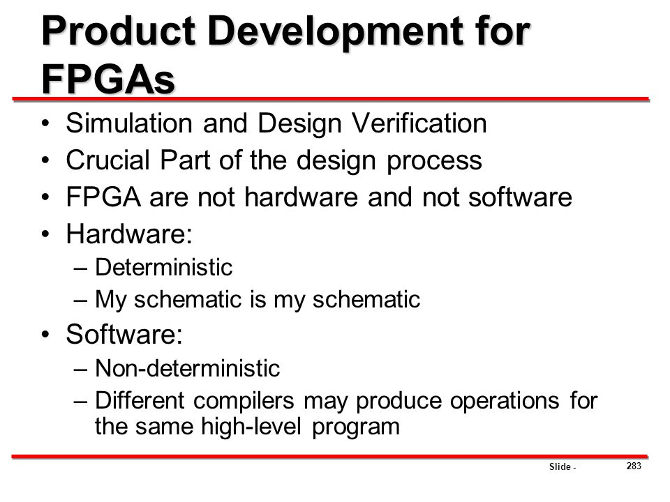 Product Development for FPGAs