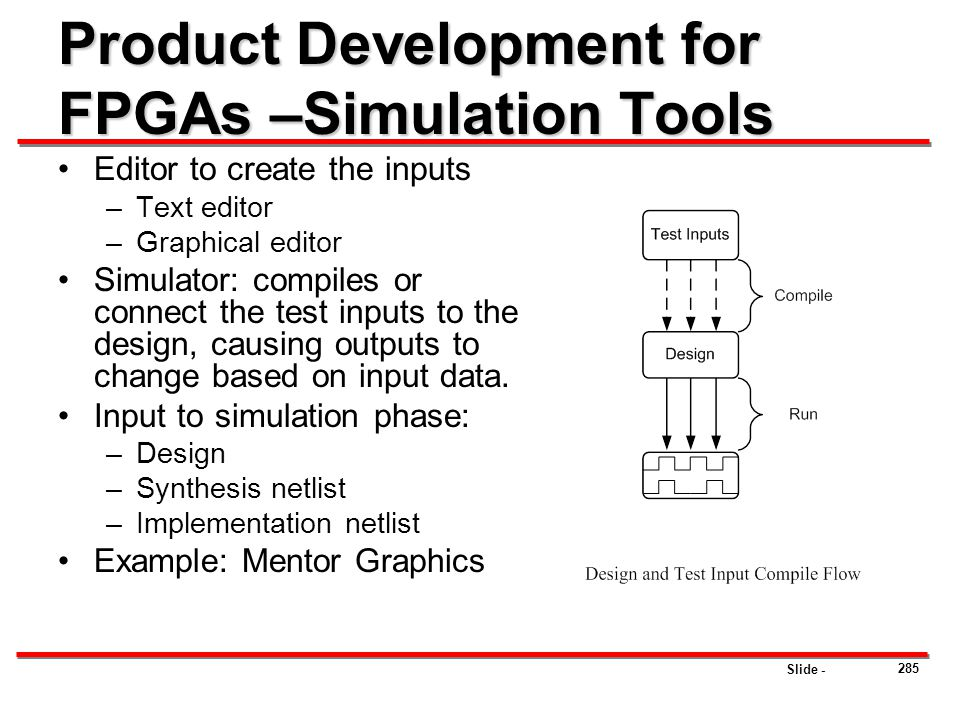 Product Development for FPGAs –Simulation Tools