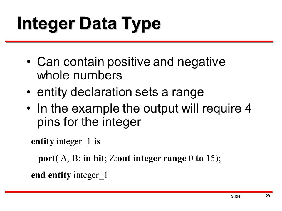 Integer Data Type Can contain positive and negative whole numbers