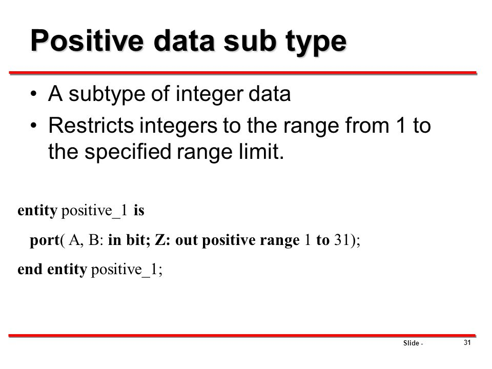 Positive data sub type A subtype of integer data