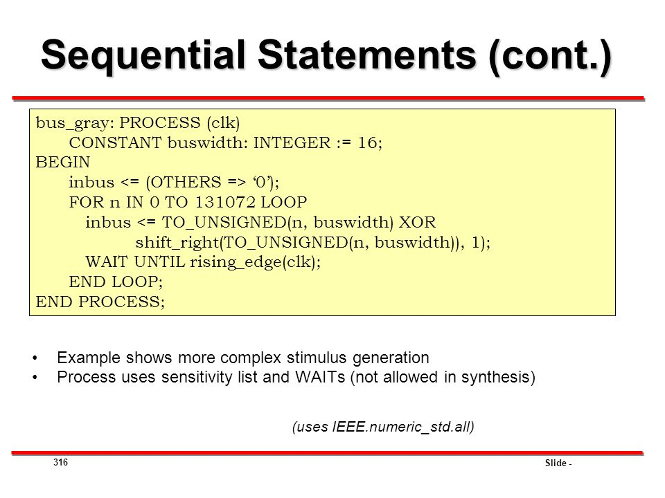 Sequential Statements (cont.)