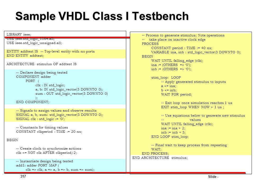 Sample VHDL Class I Testbench