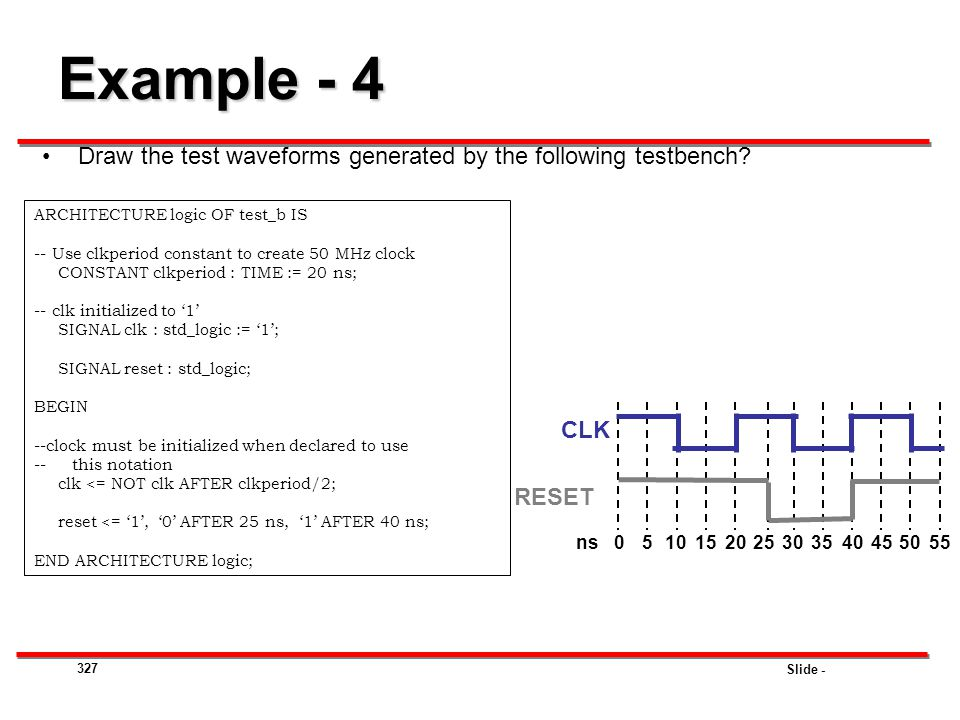 Example - 4 Draw the test waveforms generated by the following testbench ARCHITECTURE logic OF test_b IS.
