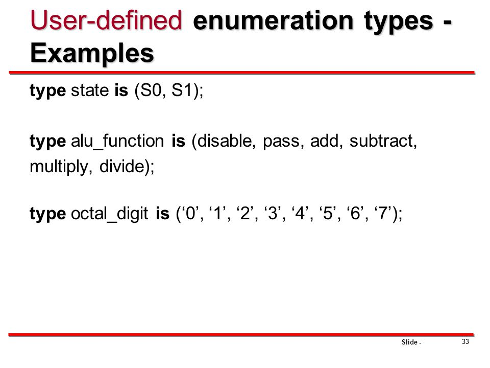 User-defined enumeration types - Examples