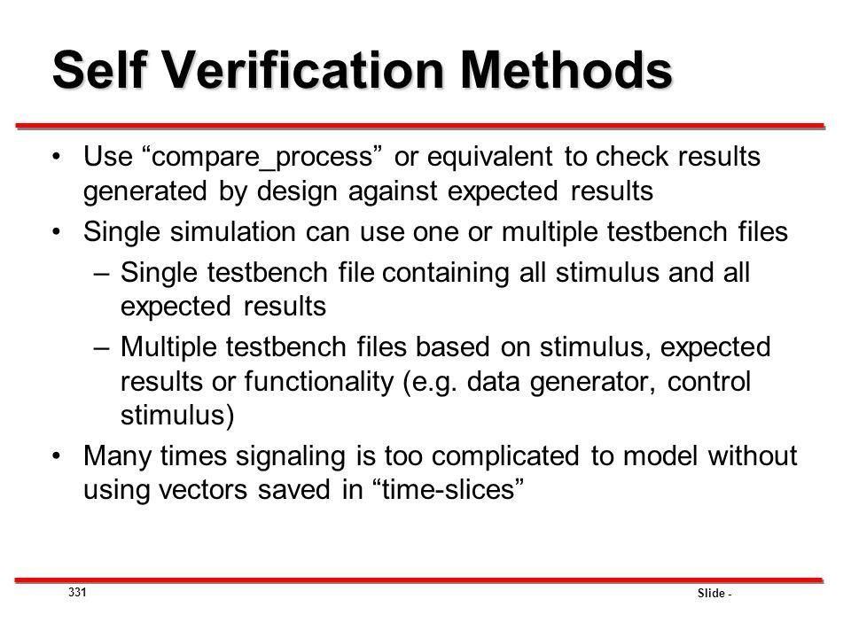 Self Verification Methods