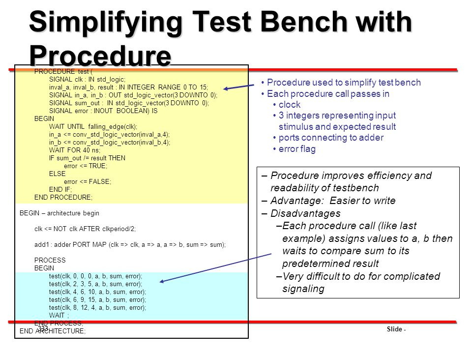 Simplifying Test Bench with Procedure