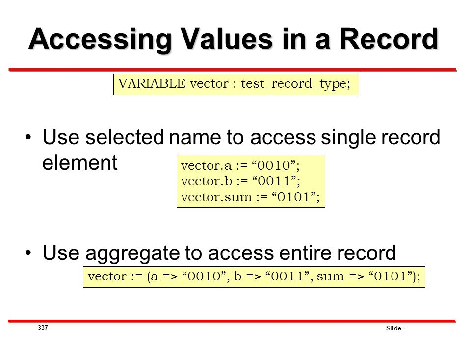 Accessing Values in a Record