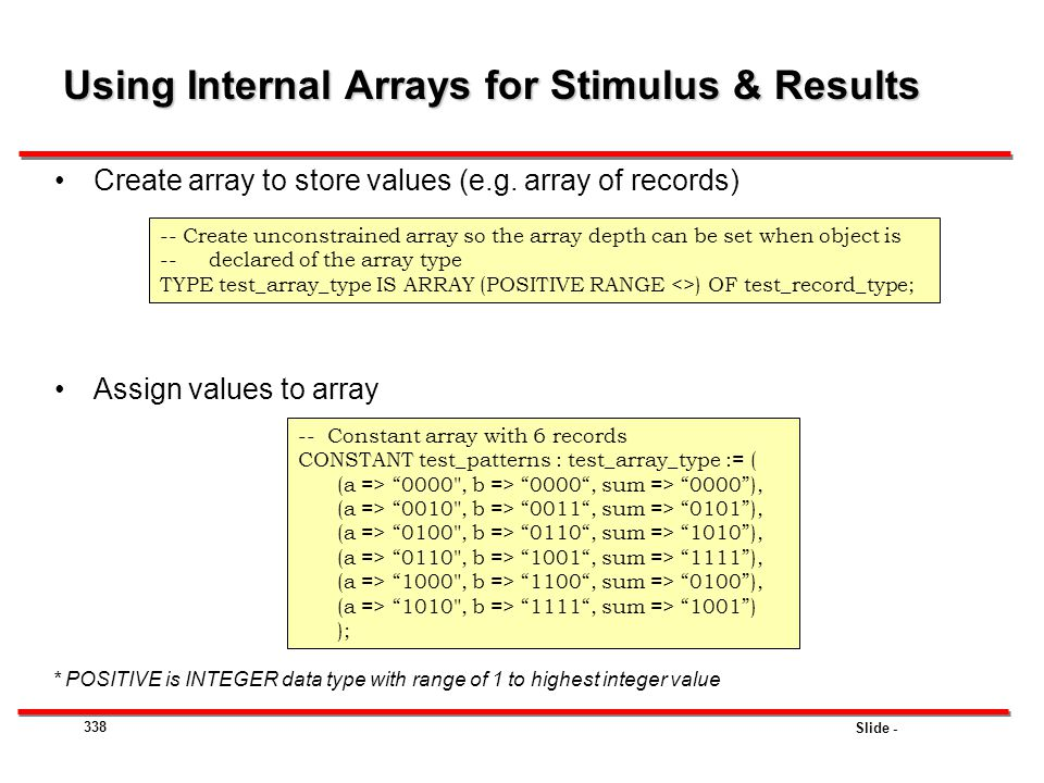 Using Internal Arrays for Stimulus & Results