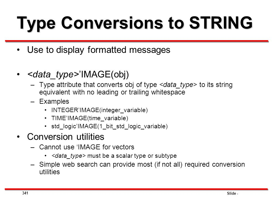 Type Conversions to STRING