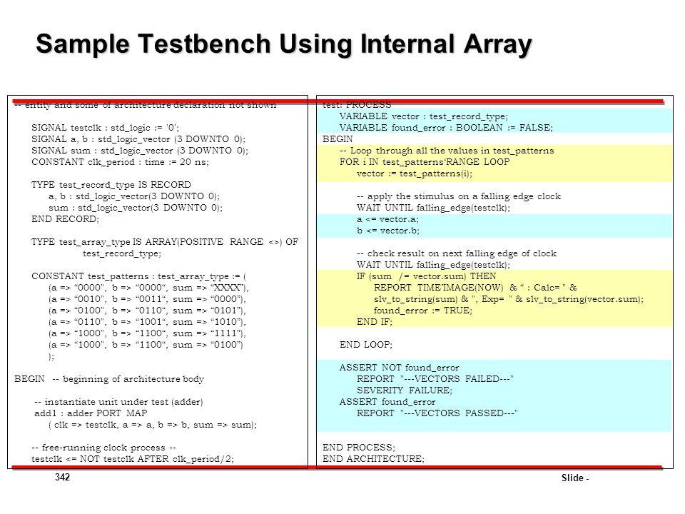 Sample Testbench Using Internal Array