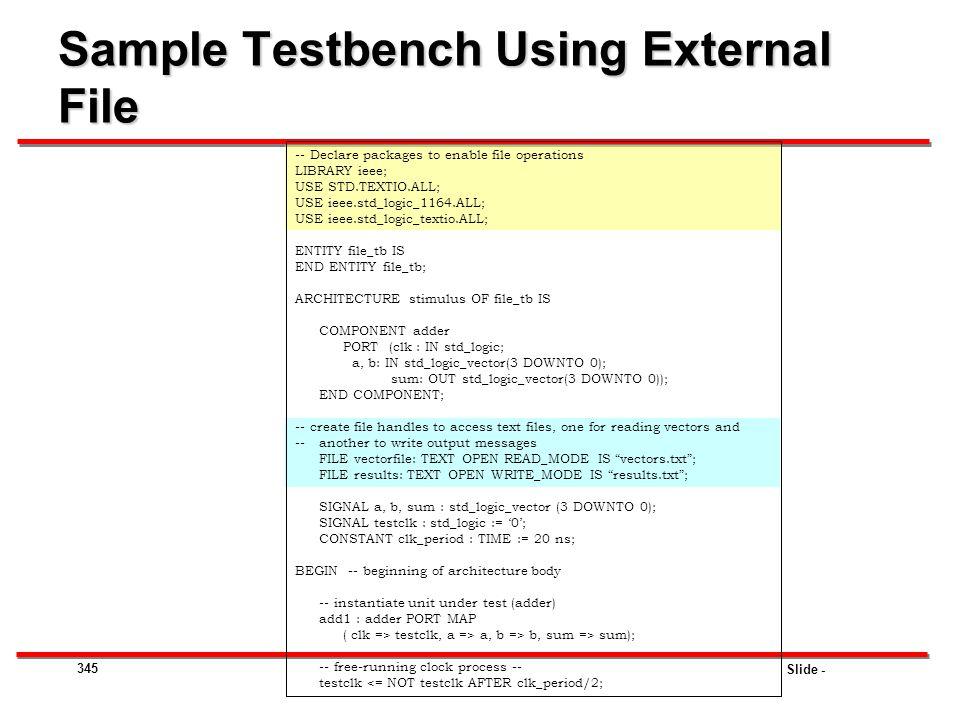 Sample Testbench Using External File