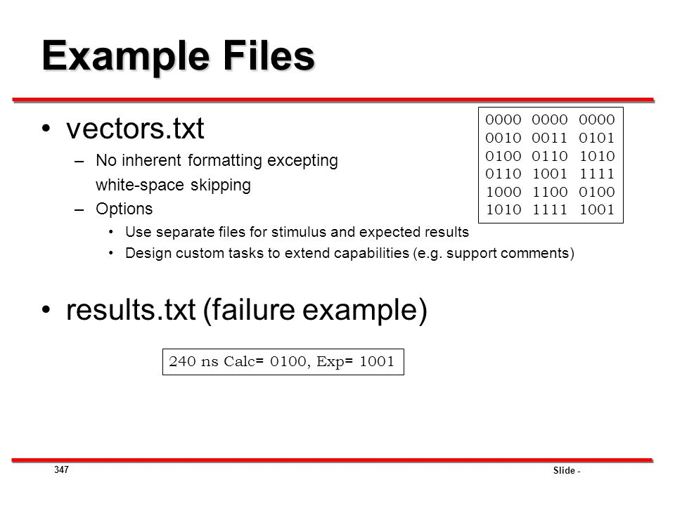Example Files vectors.txt results.txt (failure example)