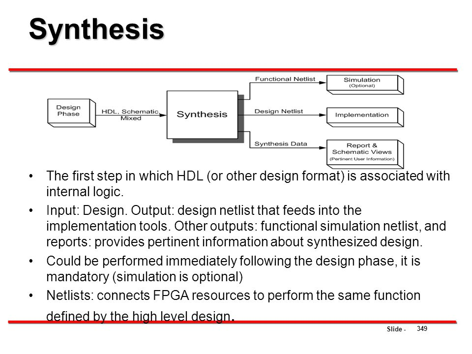 Synthesis The first step in which HDL (or other design format) is associated with internal logic.
