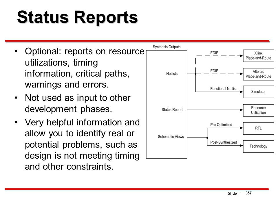 Status Reports Optional: reports on resource utilizations, timing information, critical paths, warnings and errors.