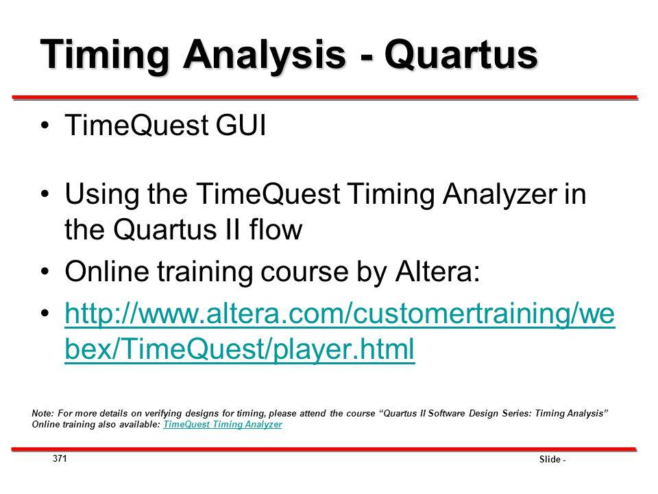 Timing Analysis - Quartus