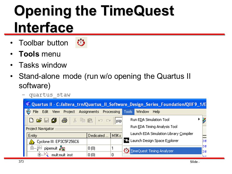 Opening the TimeQuest Interface