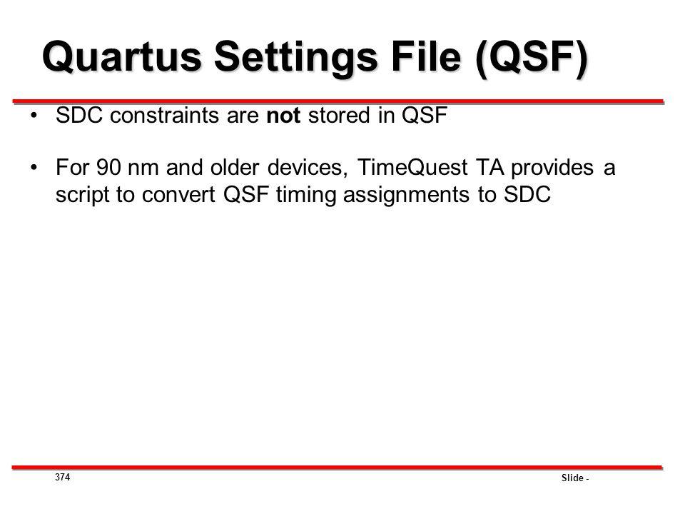 Quartus Settings File (QSF)