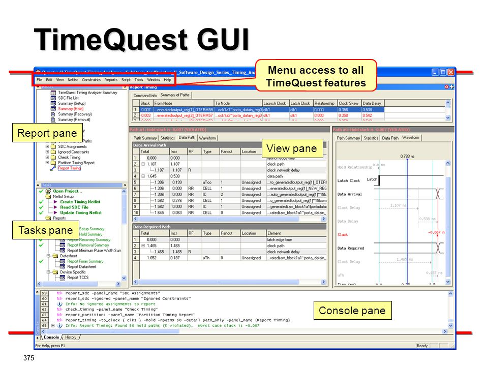 Menu access to all TimeQuest features
