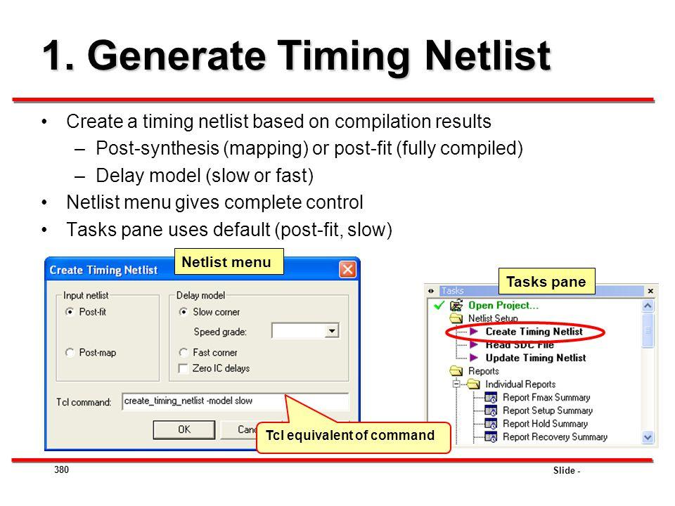 1. Generate Timing Netlist
