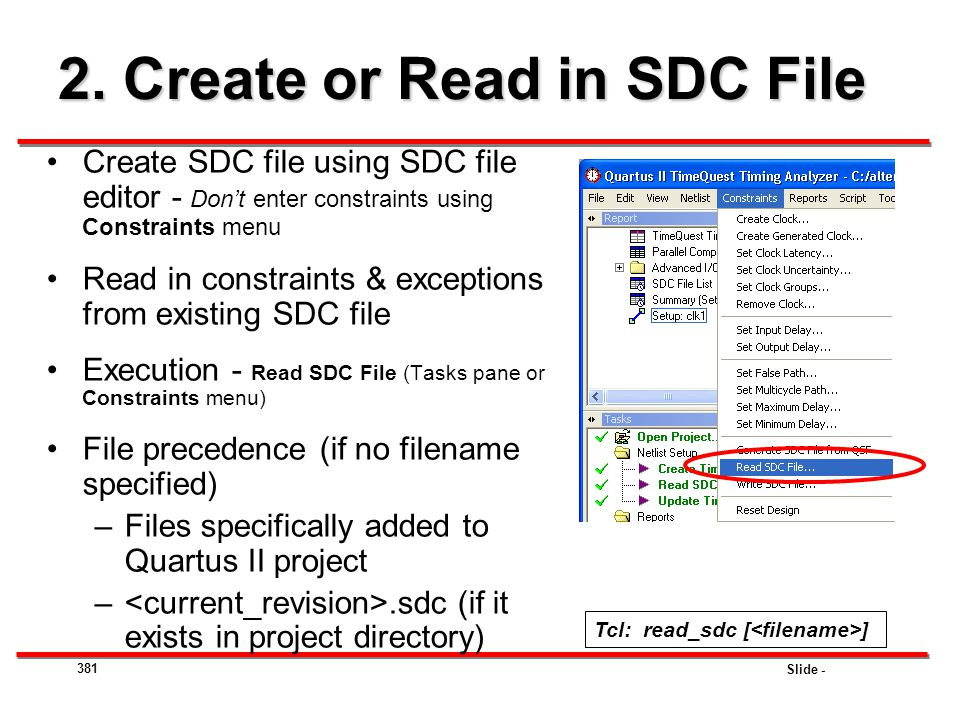 2. Create or Read in SDC File