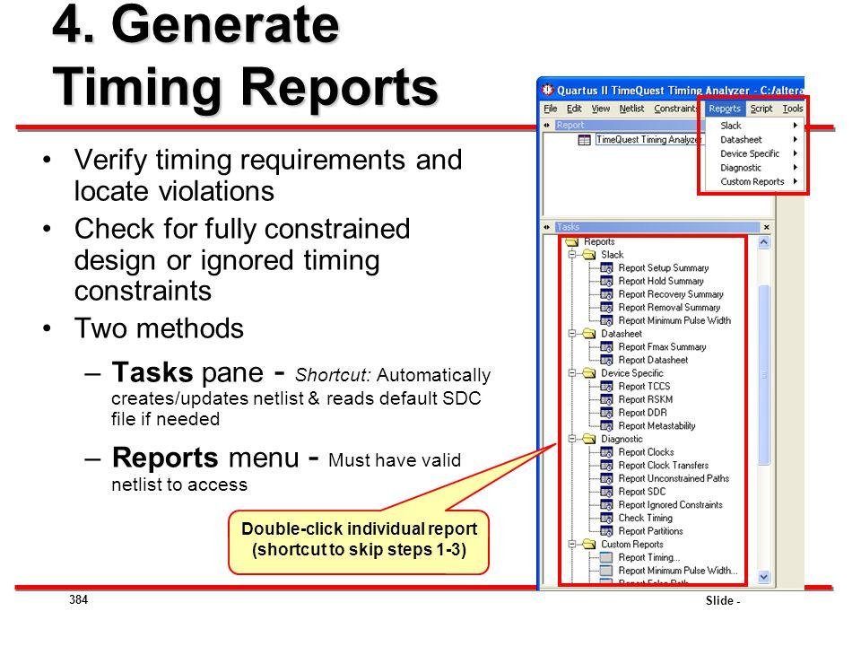 4. Generate Timing Reports