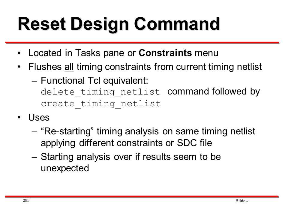 Reset Design Command Located in Tasks pane or Constraints menu