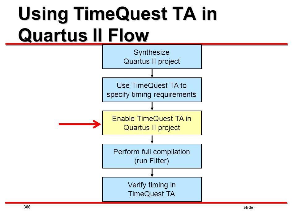 Using TimeQuest TA in Quartus II Flow