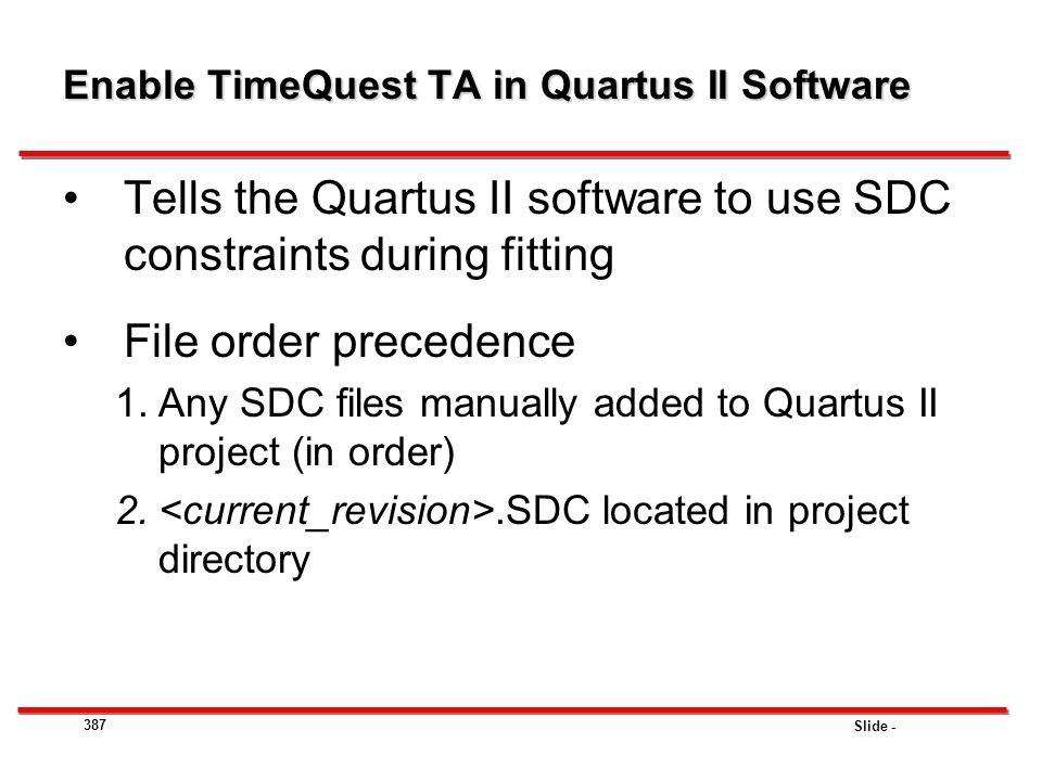 Enable TimeQuest TA in Quartus II Software