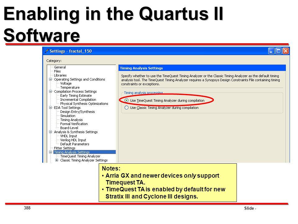 Enabling in the Quartus II Software