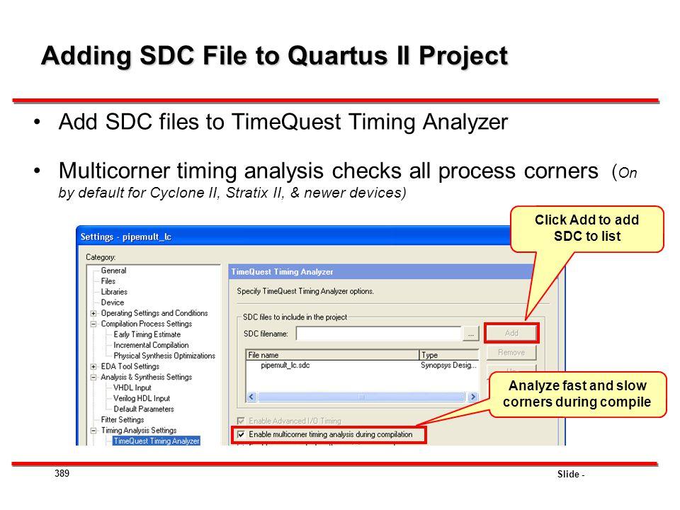 Adding SDC File to Quartus II Project