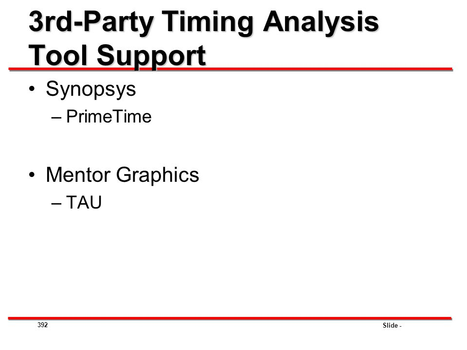 3rd-Party Timing Analysis Tool Support