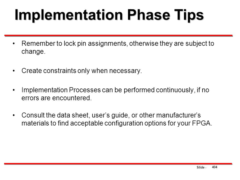 Implementation Phase Tips