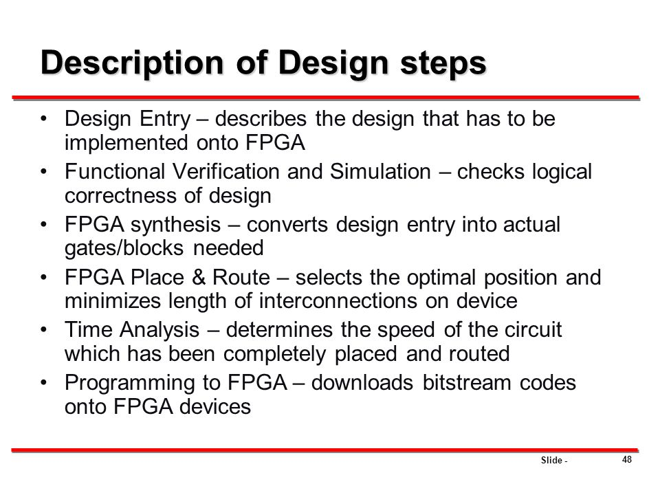 Description of Design steps