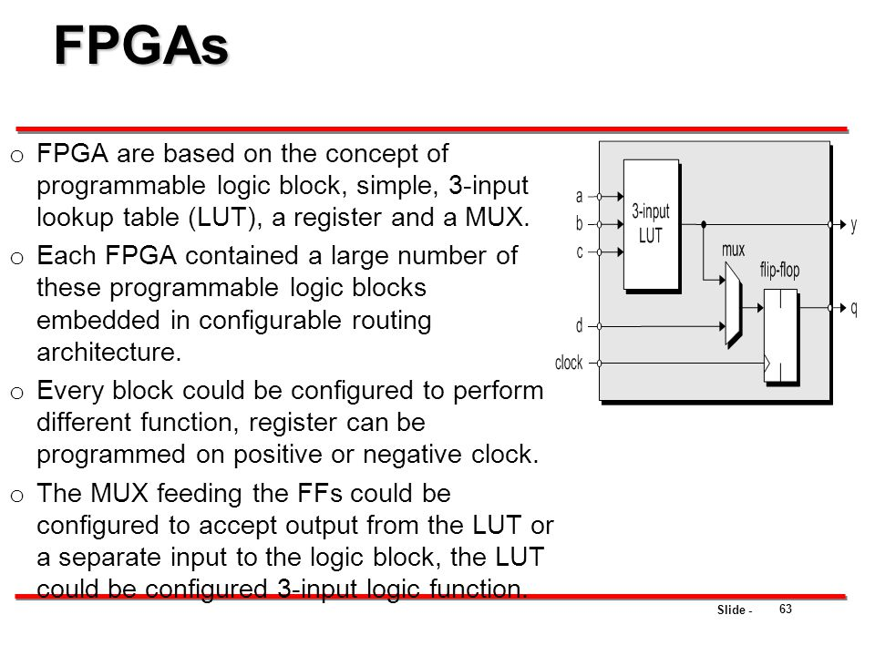FPGAs FPGA are based on the concept of programmable logic block, simple, 3-input lookup table (LUT), a register and a MUX.