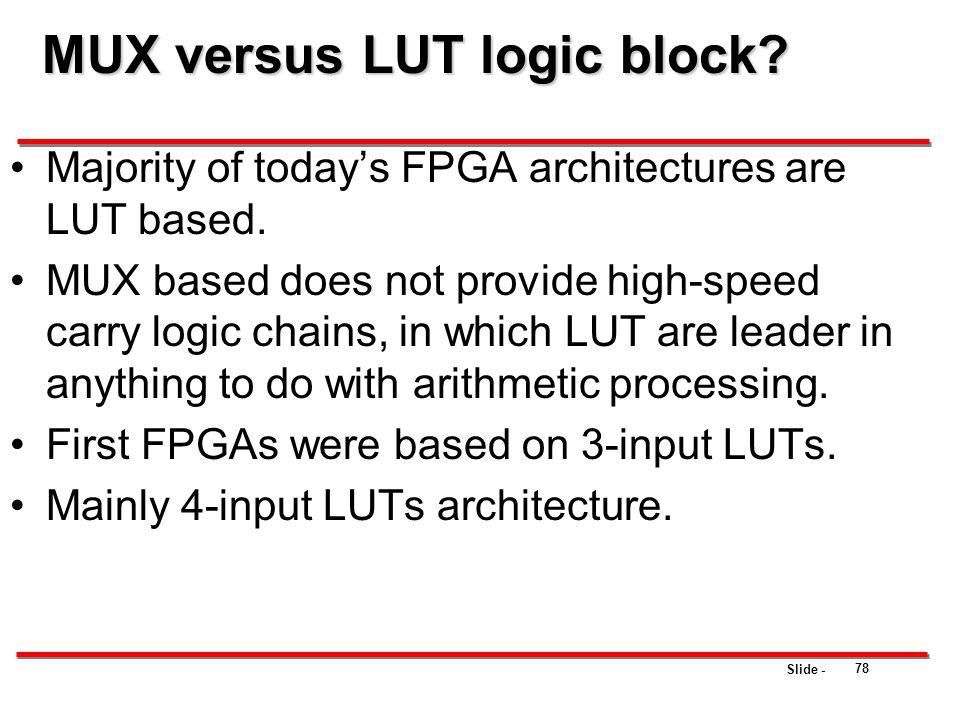 MUX versus LUT logic block