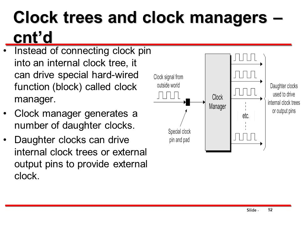 Clock trees and clock managers – cnt'd