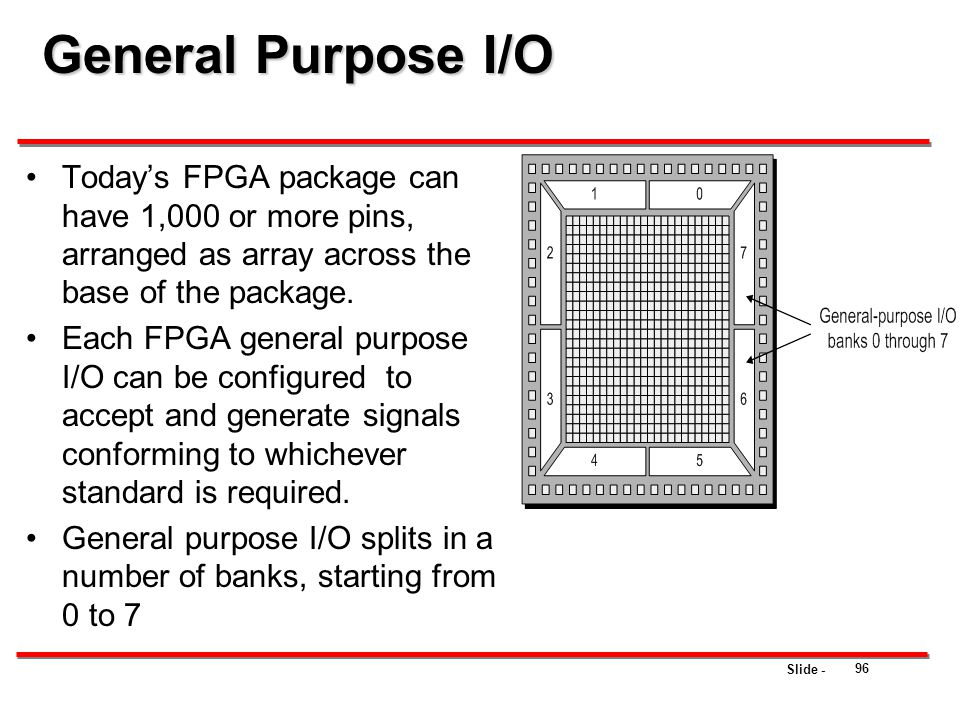 General Purpose I/O Today's FPGA package can have 1,000 or more pins, arranged as array across the base of the package.