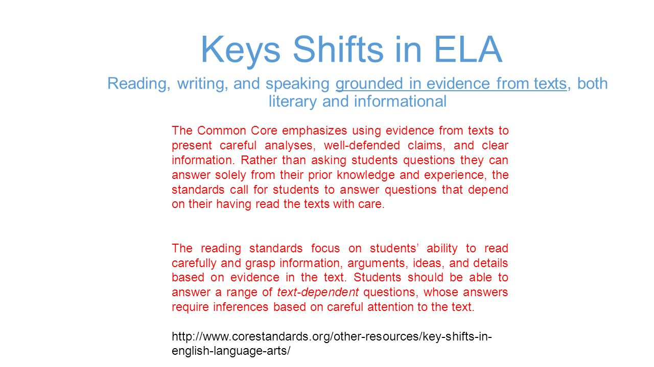Keys Shifts in ELA Reading, writing, and speaking grounded in evidence from texts, both literary and informational.