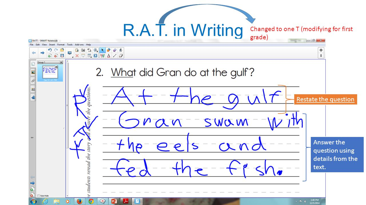 R.A.T. in Writing Changed to one T (modifying for first grade)