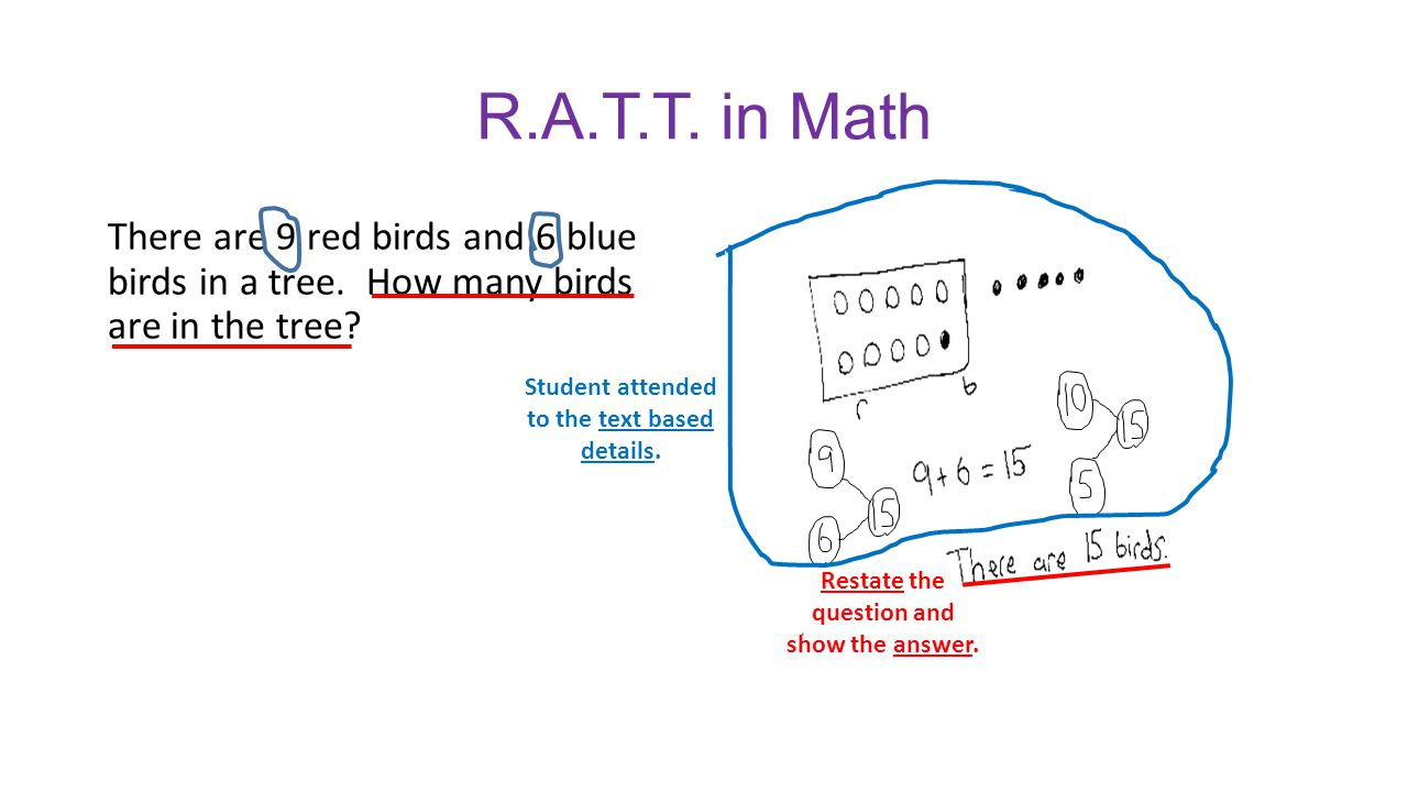R.A.T.T. in Math There are 9 red birds and 6 blue birds in a tree. How many birds are in the tree